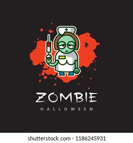 Zombie nurse image - vector cartoon character. Illustration of unusual nightmare girl on red blood spot - funny icon, original concept of Halloween.