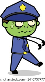 Zombie Officer - Retro Cop Policeman Vector Illustration