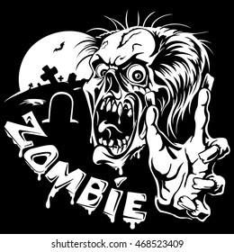 Zombie with outstretched hands on the background of the graveyard, scary monster, vector illustration