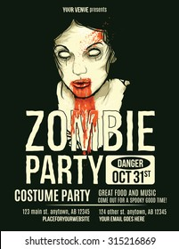 Zombie Party Flyer with Illustration of Female Zombie Girl