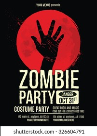 Zombie Party Flyer with Illustration of Zombie Hand in Blood Moon