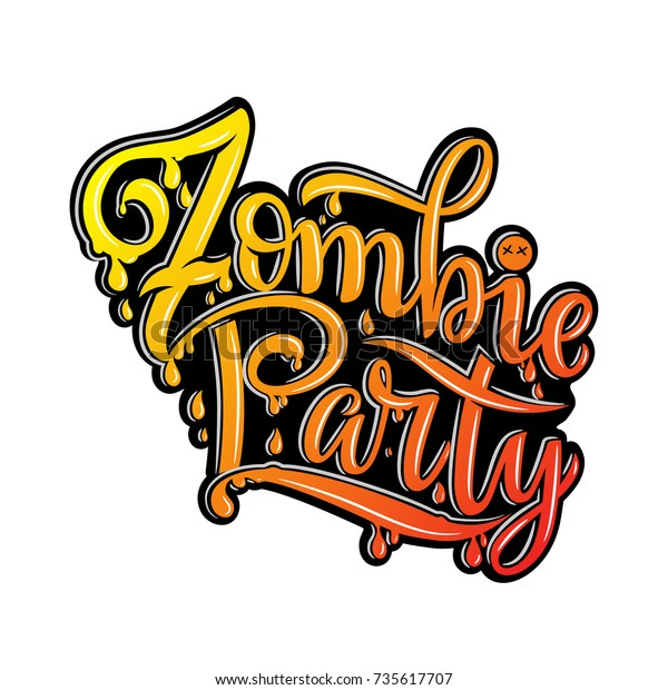 Zombie Party Text Party Invitation Greeting Stock Vector