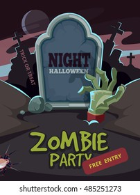 Zombie party vector illustration. Dead Man arm inside the ground in front of tomb. Invitation for halloween nigt