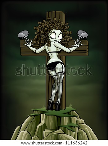 fddbd164af1 Zombie Pin-up Girl  Nailed to Cross Vector illustration of a zombie pinup  girl