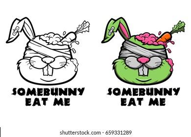 Zombie Rabbit Illustration for shirt design, Some Bunny Eat Me
