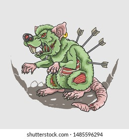zombie rat killer illustration vector