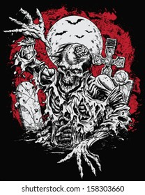 Zombie Rising From Grave Illustration