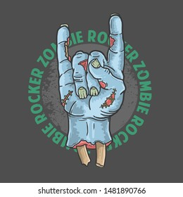 zombie rocker hand halloween illustration vector