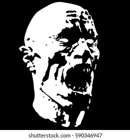 Zombie screams head. Scary monster face distortion. Roaring zombies. Vector illustration.