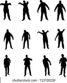 Zombie silhouettes set isolated on white.