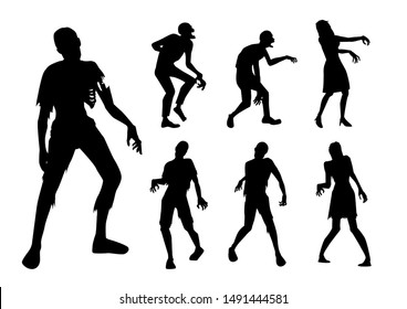 Zombie standing and walking actions in Silhouette style collection. Full lenght of people resurrected from the dead isolated on white.