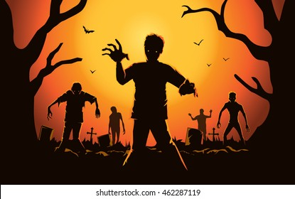 Zombie walking out from grave. Silhouettes illustration for Halloween.