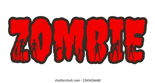 Zombie word and silhouettes on them. Halloween theme sticker