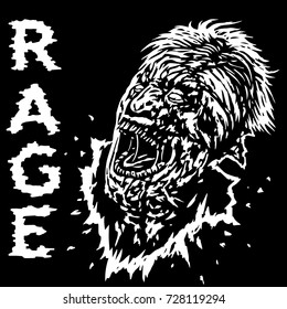 Zombies with broken face looking up and screaming with his mouth open. Vector illustration on black background. Freehand digital drawing concept. Genre of horror.