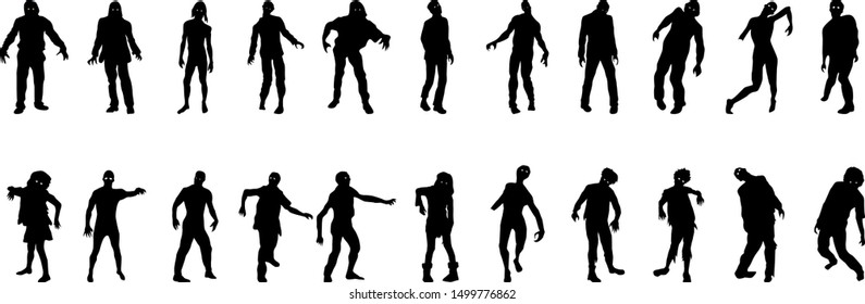 Zombies isolated on white background illustration vector