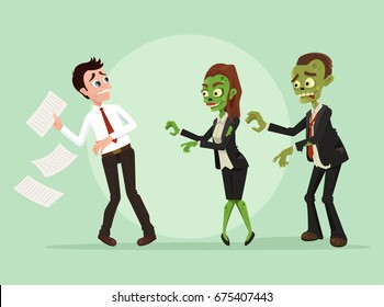 Zombies office workers businessman characters. Vector flat cartoon illustration