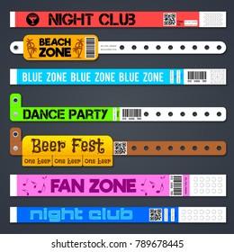 Zone entrance bracelets isolates. Concert or hotel vector plastic wristbands. Bracelet for hand, armlet for entrance and admit illustration