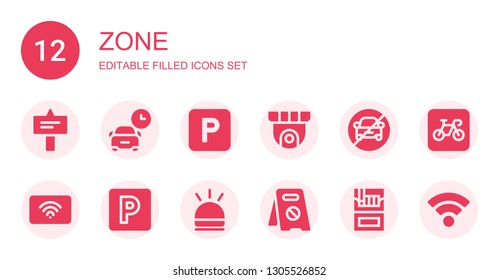 zone icon set. Collection of 12 filled zone icons included Signal, Parking, Cctv, No parking, Wifi, Hooter, Cigarette