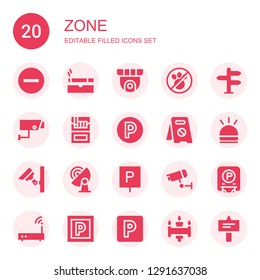 zone icon set. Collection of 20 filled zone icons included Signal, Cigarette, Cctv, No pets, Security camera, Parking, No parking, Hooter, Wifi
