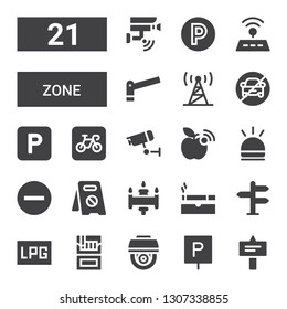 zone icon set. Collection of 21 filled zone icons included Signal, Parking, Cctv, Cigarette, Signaling, No parking, Hooter, Wifi signal, Wifi