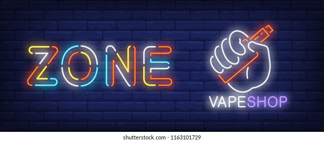 Zone vape shop neon sign. Hand holding electronic cigarette on brick wall background. Vector illustration in neon style for smoking or vape shops, retail stores