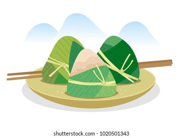 Zongzi asian food at plate vector
