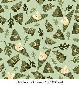 Zongzi (sticky rice dumplings) and Chinese mugwort for Dragon Boat Festival on light green background. Seamless vector pattern.