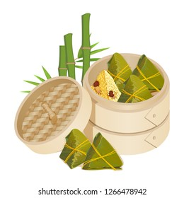 Zongzi in takeaway container isolated vector