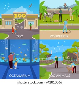 Zoo 2x2 design concept set of entry in zoo  zookeeper oceanarium and animals square  flat icons vector illustration
