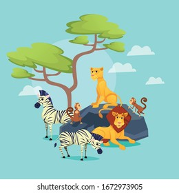 Zoo, African Animals on Nature Background, Lion King with Beautiful Mane, Lioness Sitting on Rock, Grazing Zebras Herd, Apes, Predators and Herbivorous, Wildlife, Cartoon Flat Vector Illustration