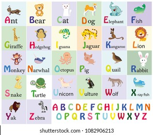 Zoo alphabet. Animal alphabet. Letters from A to Z. Cartoon cute animals isolated on white background. Different animals. Alligator, bear, cat, dog, elephant, flamingo, giraffe, horse and others