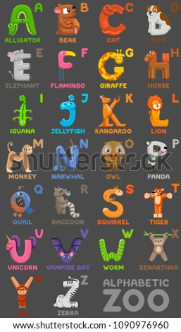 Zoo Alphabet Animal Alphabet Letters Z Stock Vector Royalty Free