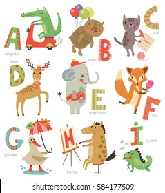 Zoo Alphabet for children. Set of letters and illustrations. Cute animals