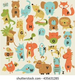 Zoo alphabet with cute animals in cartoon style.