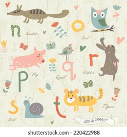 Zoo alphabet with cute animals. N, o, p, r, q, s, t letters. Numbat, owl, quail, pig, rabbit, snail, tiger in cartoon style.