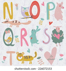 Zoo alphabet with cute animals. N, o, p, q, r, s, t  letters. Numbat, owl, pig, quail, rabbit, sheep and tiger in cartoon style.
