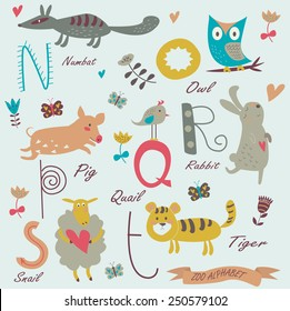 Zoo alphabet with cute animals. N, o, p, r, q, s, t letters. Numbat, owl, quail, pig, rabbit, sheep, tiger in cartoon style.
