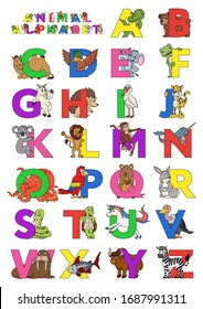 Zoo animal alphabet. Letters from A to Z. Cartoon cute animals isolated on white background. Different animals ABC. For children education and foreign language study. Alligator, bear, camel, duck etc.