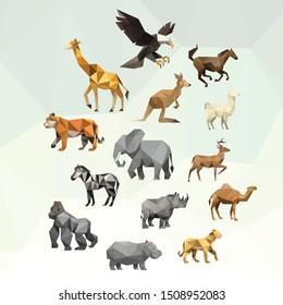 ZOO ANIMAL LOW POLY LOGO ICON SYMBOL SET. TRIANGLE GEOMETRIC POLYGON WILDLIFE