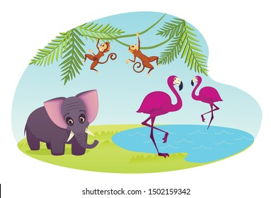 Zoo or Animal Park with Couple of Pink Flamingo Stand on Water Surface, Monkeys Jumping on Palm Tree Branches, Elephant. Exotic Tropical Characters, Decoration Element Cartoon Flat Vector Illustration
