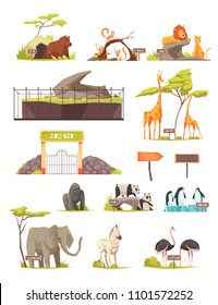 Zoo animals cartoon icons collection with zebra elephant bird ostrich lions giraffe panda penguins isolated vector illustration