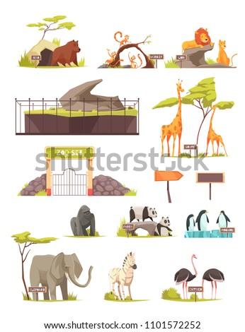 Zoo animals cartoon icons