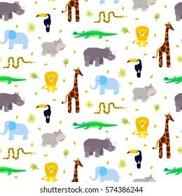 Zoo animals kid seamless pattern vector. Giraffe, lion, rhino, crocodile and elephant on white background.