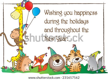Zoo Animals New Year Greeting Card Stock Vector (Royalty Free ...