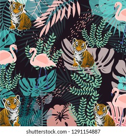 Zoo animals pattern, pink flamingo birds, tiger baby, jungle background, monstera, palms, banana, for textile, fabric, clothes kids,pajamas, bed linen, poster children