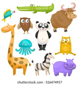 Zoo animals set on white background. Panda, yak, crocodile, giraffe, owl, hippo, fish, zebra