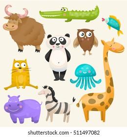 Zoo animals set. Panda,yak, crocodile, giraffe, owl, hippo, fish, zebra