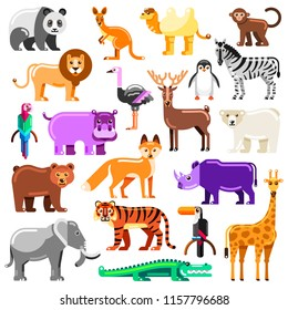 Zoo animals set. Vector flat illustration. Cute colorful characters isolated on white background.