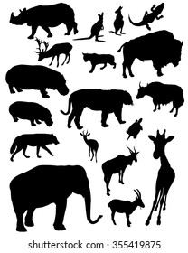 Zoo animals silhouettes