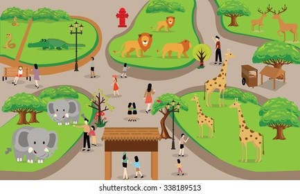 zoo cartoon people family with animals scene vector illustration background from top landscape